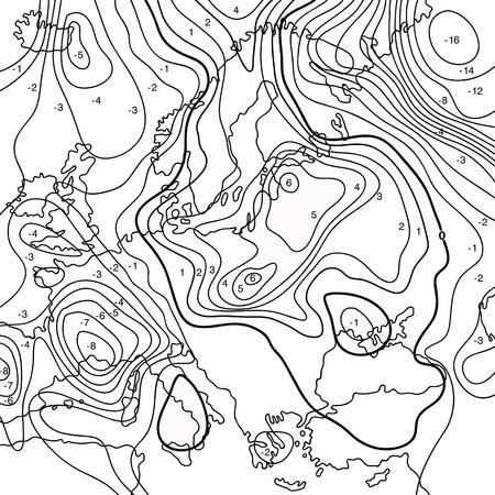 Kaart geeft aarde temperatuurverloop. Zwart en wit.