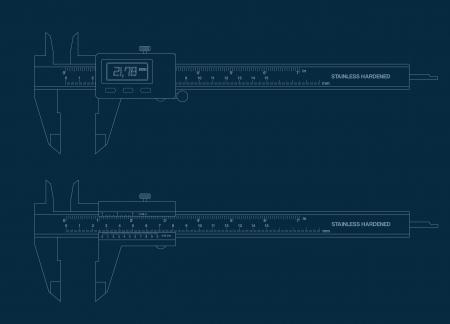 caliper: Vernier caliper digital and basic tools blueprint.