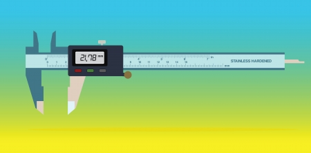 vernier: Vernier caliper tool isolated on color background
