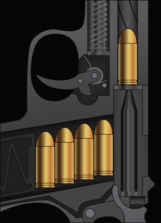 sectional: A handgun sectional drawing with bullets loaded. Vector illustration. Illustration