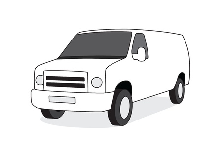 Delivery van front view, isolated on white, vector illustration Vector