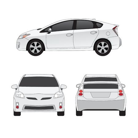 中型都市車 3 サイド ビュー ベクトル イラスト。白で隔離されます。
