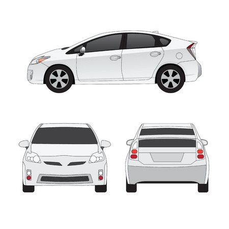 sedan: Medium size city car three side views vector illustration. Isolated on white.