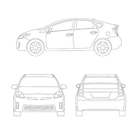 Medium size city car three side views vector illustration. Line art, blueprint style. Isolated on white.
