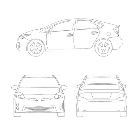 Medium size city car three side views vector illustration. Line art, blueprint style. Isolated on white. Vector