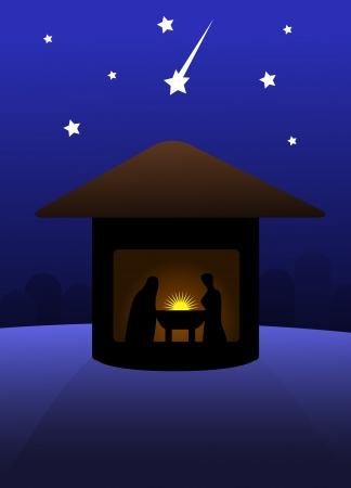 Nativity silent night scene.  illustration. Stock Vector - 14984044