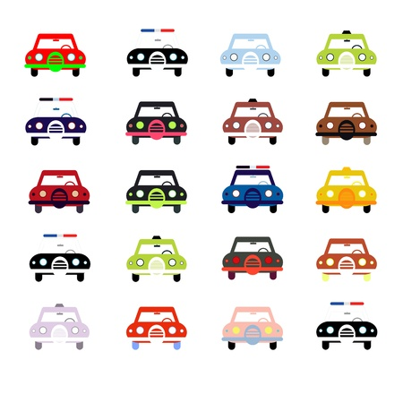 City cars front view illustration isolated on white background.  Vector