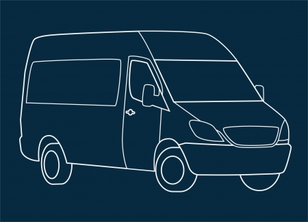 Delivery van white on blue background. Stock Vector - 14983996