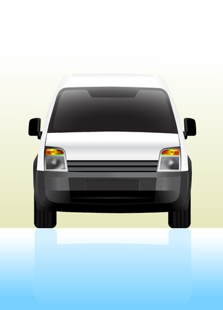 Delivery van small. Front view,  illustration. Stock Vector - 14984073