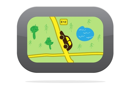 GPS navigation device icon isolated on white. Stock Vector - 14984060