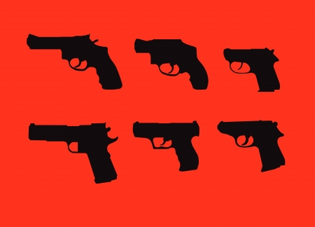 back lit: Hand guns silhouettes isolated on red background. Illustration