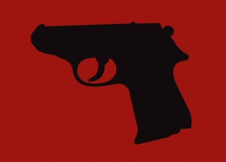 glock: Hand gun silhouette isolated on red background. Illustration