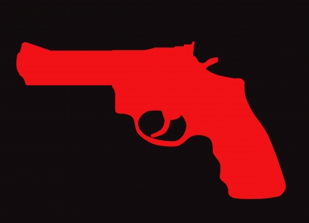 hand gun: Hand gun silhouette isolated on color background.