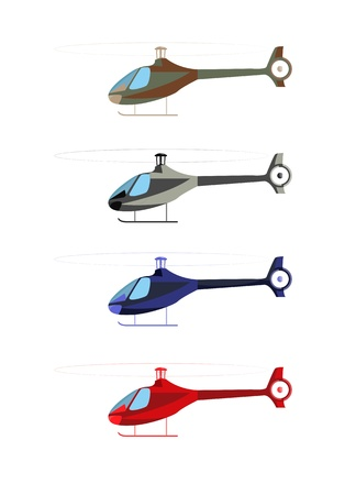 Helicopter four color options isolated on white.  illustration. Vector