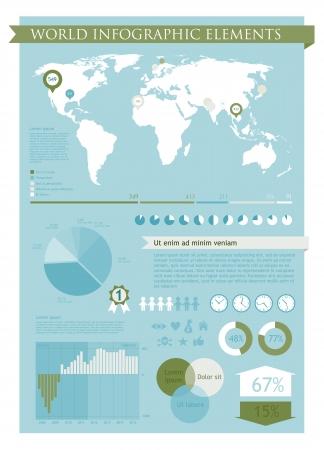 ヤシの木色で情報グラフィックの要素
