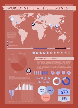 Information graphics elements red  イラスト・ベクター素材