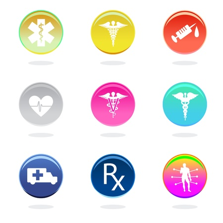 Medical icons in color circles on white background.