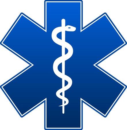 Emergency star blue on white background.