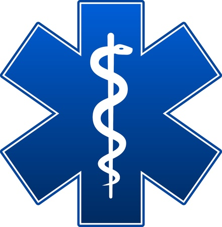 caduceus: Emergency star blue on white background.