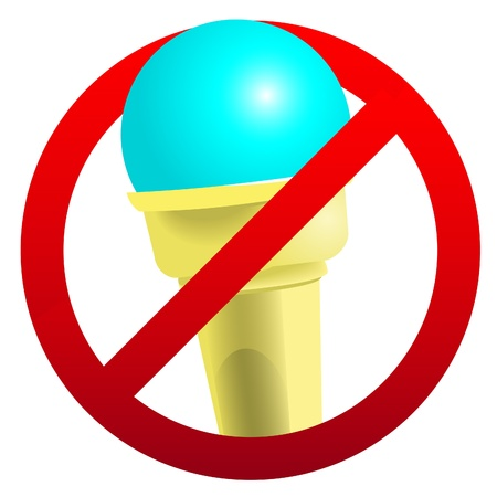 No ice-cream sign isolated on white. Stock Vector - 14984009