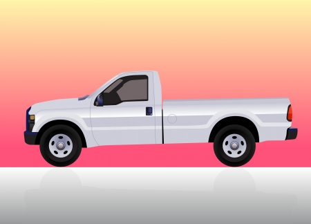 Pick-up truck white on color gradient background. Stock Vector - 14984052