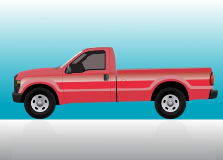 Pick-up truck red on color gradient background. Vector