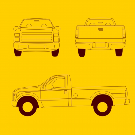 Pick-up truck line illustration, front, side and rear view Stock Vector - 14984046