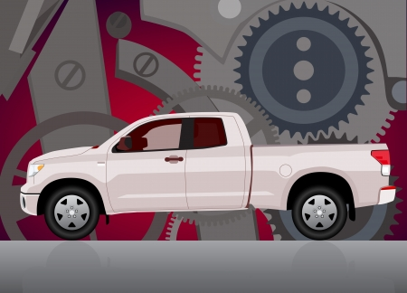 transference:  Pick-up truck with background of cogwheels. Vehicle and background on separate layers, no transparencies.