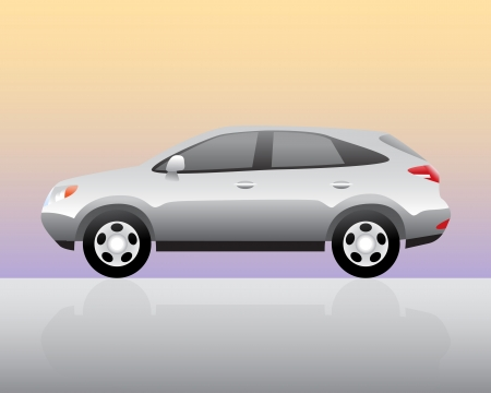 Sport utility vehicle with color background and reflection. Vector