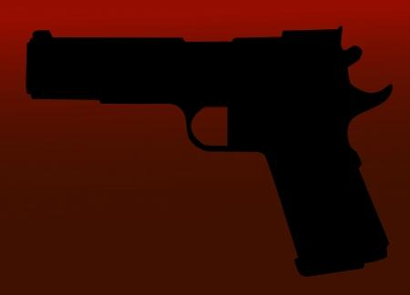 back lit: Silueta a mano arma aislado en fondo rojo.