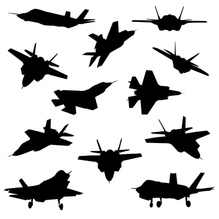 afterburner: Fighter aircraft silhouettes isolated on white background.