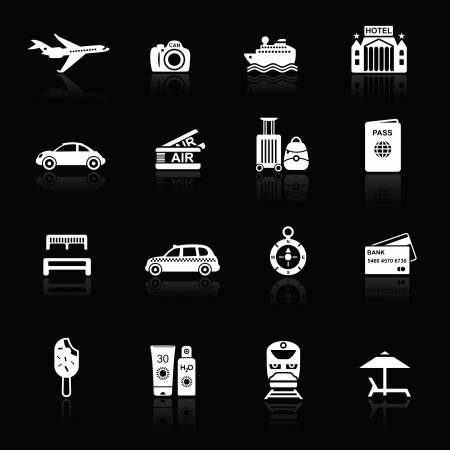 Travel icons white on black with reflections. Silhouettes of travel related objects. Stock Vector - 16135672