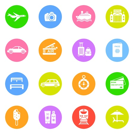 Travel icons in color circles isolated on white background. Stock Vector - 16135669