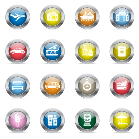 Travel icons in color glossy circles isolated on white background. Stock Vector - 16135676