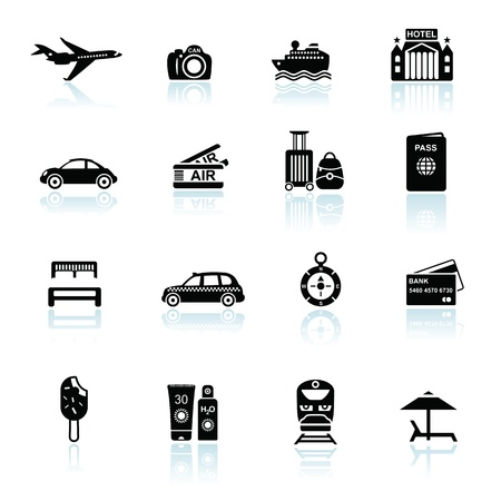 Travel icons black on white with reflections. Silhouettes of travel related objects. Stock Vector - 16135673