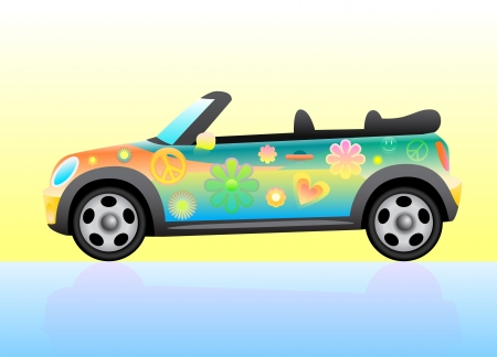Hippie colorful car open top. Stock Vector - 16135666