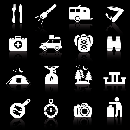 Camping icons white on black Illustration