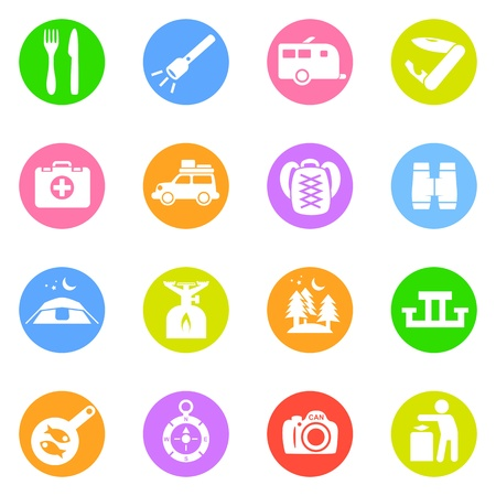 Camping icons in color circles isolated on white background  Stock Vector - 16915748