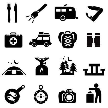 offroad car: Camping icons black on white  Silhouettes of outdoor recreation related objects