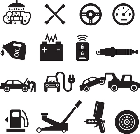 plug electric: Car service icons, black on white background.