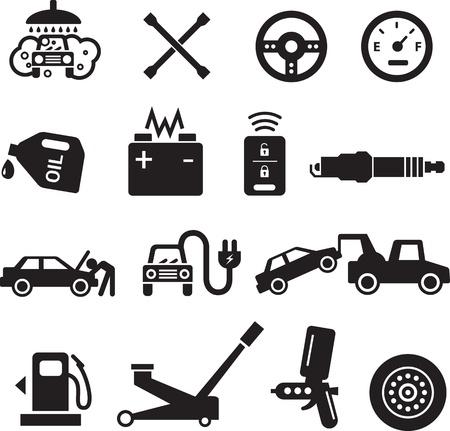 enchufe: Iconos de servicio de coche, negro sobre fondo blanco.