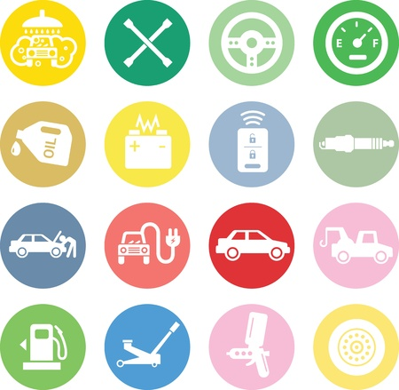 Car service icons, white in color circles. Stock Illustratie