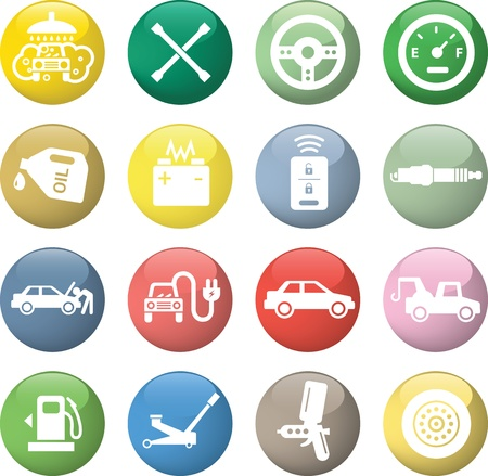 Car service icons, white in color glossy circles. Vector