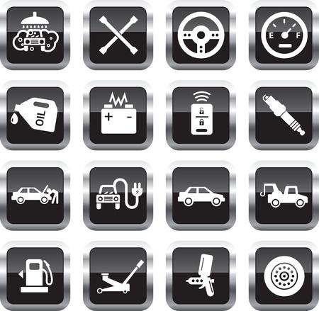 車サービス アイコンは、光沢のある正方形のボタンに白。  イラスト・ベクター素材