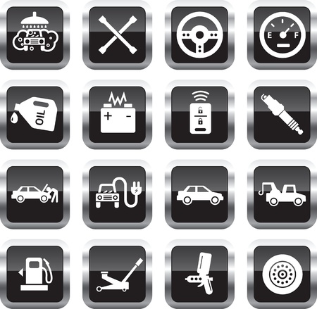 Car service icons, white on glossy square buttons. Vector