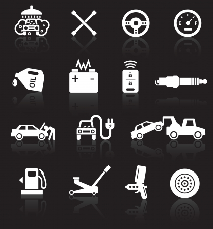 Car service icons, white on black background with reflections.