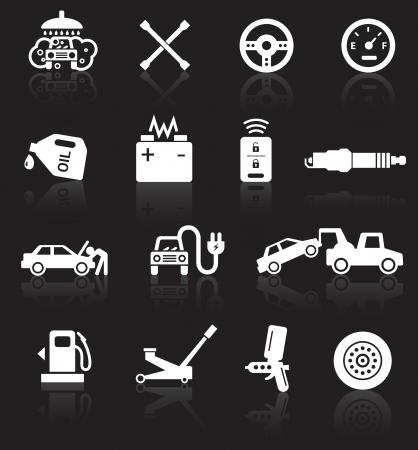 車サービス アイコンは、黒の背景に反射と白い。