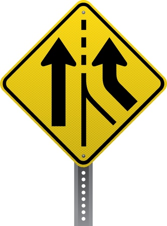 road conditions: Added lane traffic warning sign. Diamond-shaped traffic signs warn drivers of upcoming road conditions and hazards.