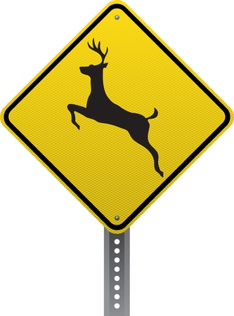 Deer crossing traffic warning sign. Diamond-shaped traffic signs warn drivers of upcoming road conditions and hazards.