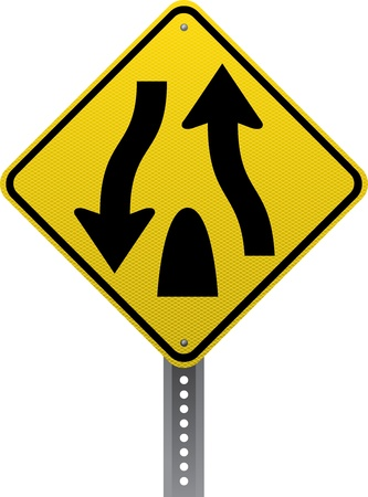 road conditions: Divided highway traffic warning sign. Diamond-shaped traffic signs warn drivers of upcoming road conditions and hazards.